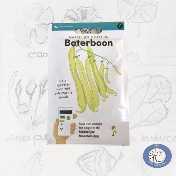 Product afbeelding ID 2645 met informatie over boterboon zaden Makkelijke Moestuin voor website Birds and Berries België