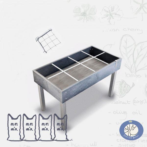 Product kleine moestuintafel Hero met klimrek met mix voor webshop Birds and Berries