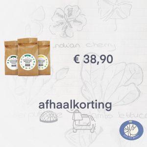 Productafbeelding van zadenpakket Combi met 30 zakjes zaden. De Basis, Seizoens en Klimrek zaden van de Makkelijke Moestuin. In België bij Birds and Berries in Bonheiden of via de webshop