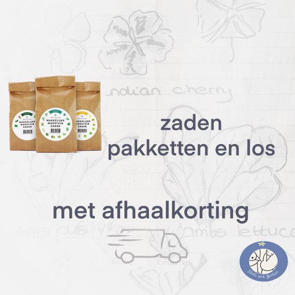 Product zaden pakketten en losse zakjes van de Makkelijke Moestuin met afhaalkorting bij Birds and Berries België