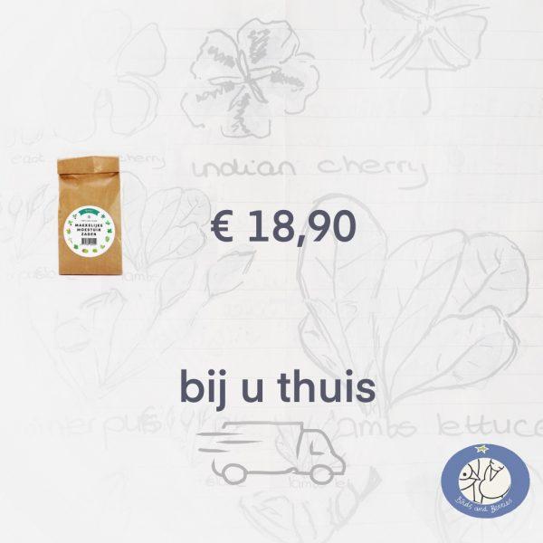 Productafbeelding zadenpakket Basis Makkelijke Moestuin. 12 zakjes zaden tot bij u thuis via webshop Birds and Berries