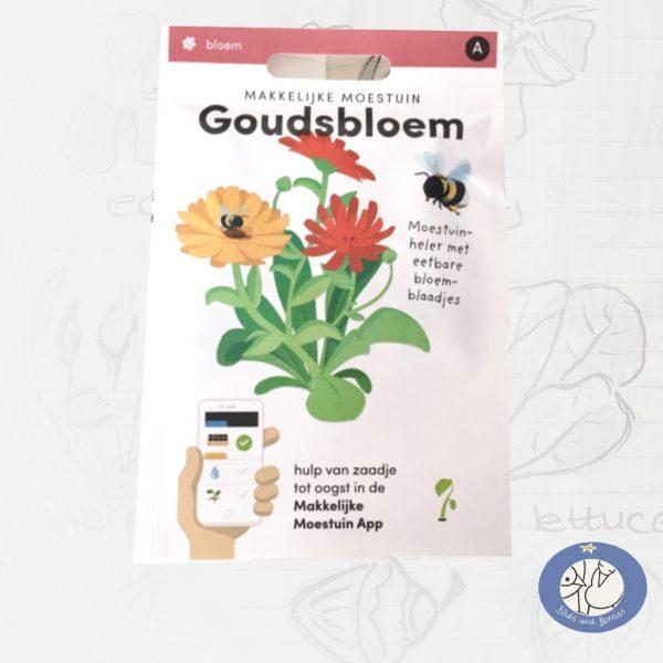 Product afbeelding los zakje Goudsbloem zaden Makkelijke Moestuin voor website Birds and Berries België
