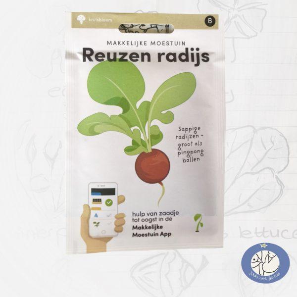 Product afbeelding los zakje Reuzen Radijs zaden Makkelijke Moestuin voor website Birds and Berries België
